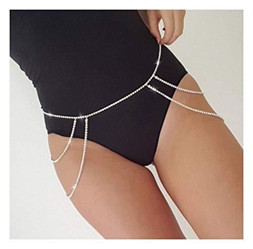 Fstrend Gorgeous Layered Body Chain Necklace Shiny Bikini Nightclub Belly Waist Jewelry for Women and Girls (Gold)