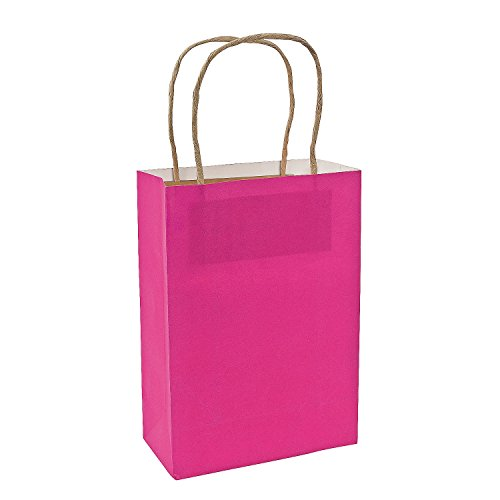 Medium Hot Pink Craft Bags/Gift Wrap/Party Supplies/Goody Bags/Crafts, One Dozen