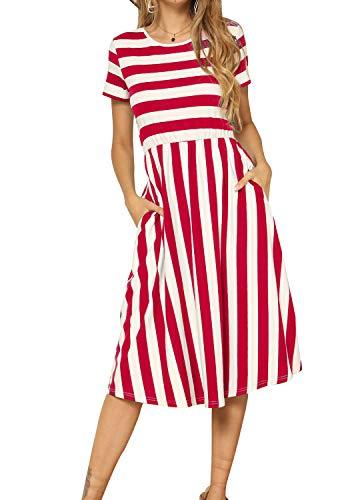 Women's Short Sleeve Elastic Waist Striped Swing Pockets Midi Dress Red L