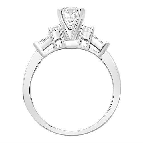 14K White Gold 1.09 CTW Princess Cut Prong Set Round And Baguette Diamond Engagement Ring , J Color I1 Clarity, 0.74 Ct Center
