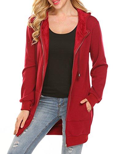 Locryz Womens Casual Long Sleeve Fleece Jackets Zip Up Hoodies XL Red (Red Hoodie Sweatshirt Jacket)