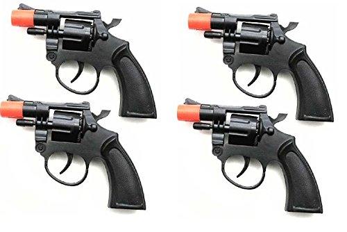 Cowboy Style 8-Shot Revolvers Toy Black Cap Gun (Set of 4)
