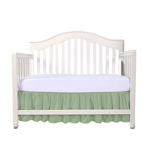 "Sage Crib Bed Skirt Split Corner,Dust Ruffle 100% Cotton Nursery Crib Toddler Bedding Skirt for Baby Boys or Girls, 14"" Drop from Loom Atrium"