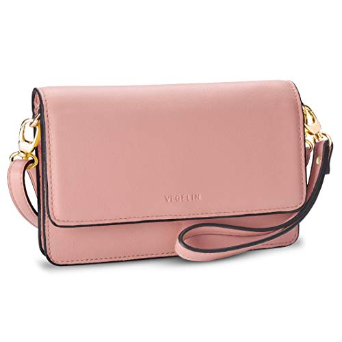 Womens Small Crossbody Bags Leather Purses and Handbags Wristlet Wallet with Phone Pocket and Card Slots, Pink