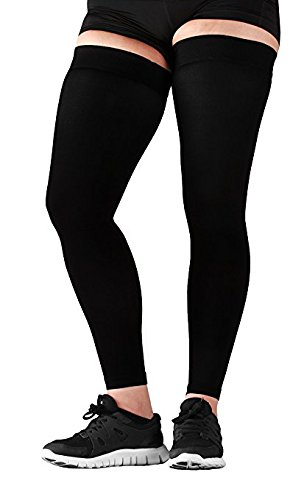 Mojo Sports Medical Grade Thigh High Compression Stockings - Thigh Leg Sleeve - 20-30mmhg Graduated Compression - Thigh Hi Recovery Garment Treats Hamstring and Quad Injuries - Unisex - XL, Black by Mojo Compression socks