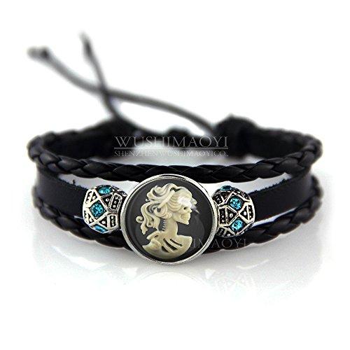 WUSHIMAOYI Victorian Steampunk Sugar Skull Bracelet Jewelry Leather Bracelet Customize Your Own