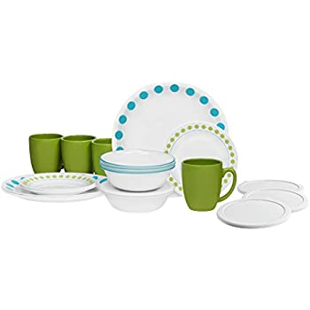 Corelle 20 Piece Livingware Dinnerware Set with Storage South Beach Service for 4  sc 1 st  Amazon.com & Amazon.com | Corelle 20 Piece Livingware Dinnerware Set with Storage ...