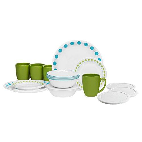 Corelle 20 Piece Livingware Dinnerware Set with Storage South Beach Service for 4  sc 1 st  Amazon.com & Lightweight Dinnerware Set: Amazon.com