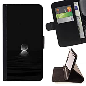 Momo Phone Case / Flip Funda de Cuero Case Cover - Moon Ocean Set Oscuro Negro - LG G3