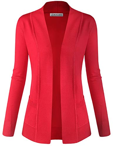 BIADANI Women Classic Soft Long Sleeve Open Front Cardigan Sweater Red - Ribbed Red Womens Soft