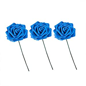 VORCOOL Foam Roses Flowers,100 Pcs Artificial Mini Foam Roses Flowers Head for DIY Party Festival Home Decor Garland Wreaths Flowers(Blue) 63