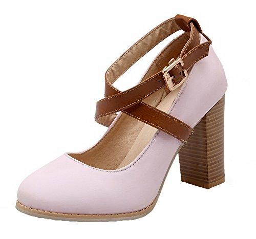 Pumput Amoonyfashion Pu Solki Kierroksen Toe Naisten Suljettu 36 kengät Solid Vaaleanpunainen Korkokenkiä 7Xq8r7w