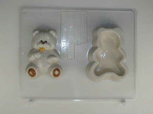 Large cute stitched Bear sucking a Lollypop lid and amp; bottom BH034 Bear Heaven Chocolate Candy Mold
