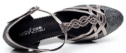 Abby Q-6231 Womens Latin Tango Rumba Cha-cha Ballroom Party Mid Heel T-bar PU Dance-shoes Grey 6vLXa35hj