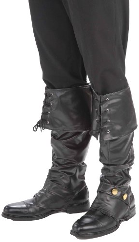 Deluxe Pirate Boot Covers (Forum Novelties Men's Deluxe Adult Pirate Boot Covers with Studs, Black, One Size)