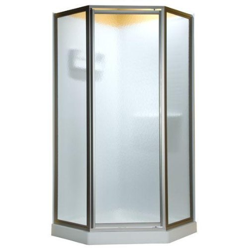Neo Angle Shower Enclosure (American Standard AMOPQF2436 Neo Angle Tall Framed Hammered Glass Shower Door, 68#1/2-Inch)