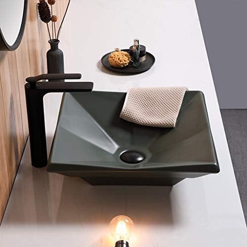 DS- バスルームの洗面台、ホームカウンタ流域(タップなし)緑色バニティ技術流域単一流域上記マットセラミック、42X42X12cm 洗面ボール && (Size : 42X42X12cm)