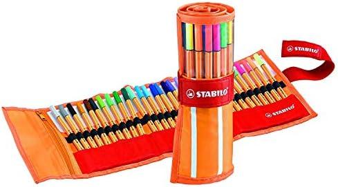 Rotulador punta fina STABILO point 88 Estuche premium de tela Rollerset con 30 colores + Rotulador STABILO Pen 68 Estuche premium de tela Rollerset Fan Edition con 25 colores: Amazon.es: Oficina y papelería