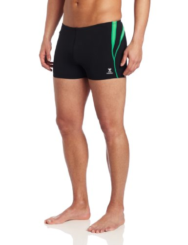 (TYR Men's Alliance Durafast Splice Square Leg Swim Suit (Black/Green,)