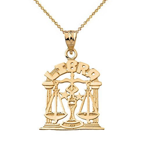14k Yellow Gold Libra Zodiac Sign Personalized Charm Pendant Necklace, 20