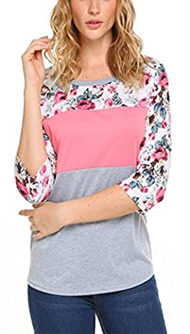 JQstar Tunic Tops For Leggings For Women Floral Printed Long Tshirt Pink M - Pink Floral Shirt