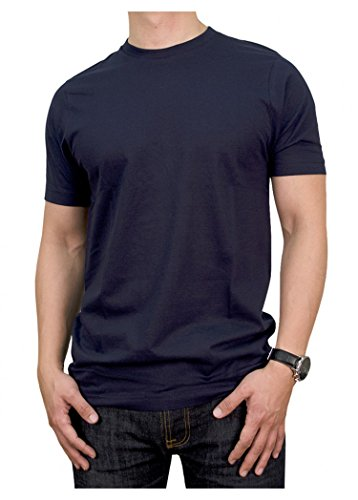 ToBeInStyle Men's Plain Crew Neck T-Shirt - Navy - (Plain Crewneck T-shirt)