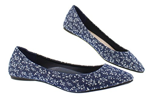 (Marilou Womens Floral Print Flats Shoe,Cute Round Pointed Toe Ballet Dress Flat Ballerina Shoes for Women Denim Sparkle 8 US)