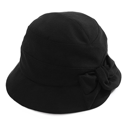 Cloche Hat for Women Winter Hat Black Ladies 1920s Vintage Derby Church Bowler Bucket Hat Fall Crushable SIGGI