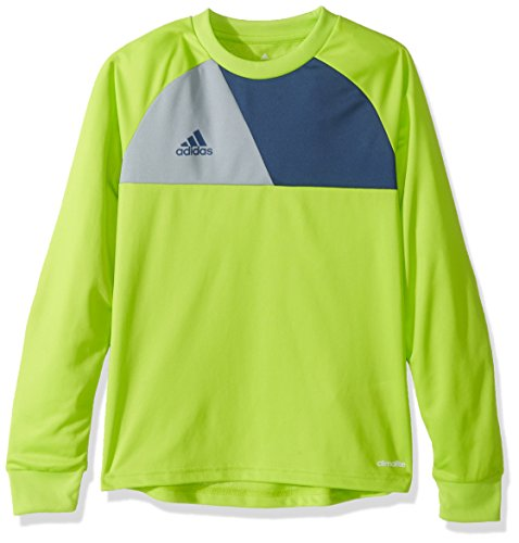 adidas Youth Soccer Assita 17 Goalkeeper Jersey, Solar Slime/Night Marine/Light Grey, Small
