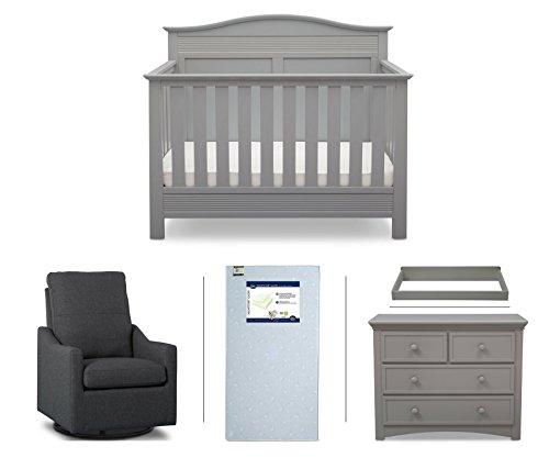 Serta Barrett 5-Piece Nursery Furniture Set (Serta Convertible Crib, 4-Drawer Dresser, Changing Top, Serta Crib Mattress, Glider), Grey/Charcoal