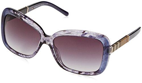 Burberry BE4173 Sunglasses 36138G-58 - Blue Gradient Striped Frame, Grey - Blue Burberry Sunglasses