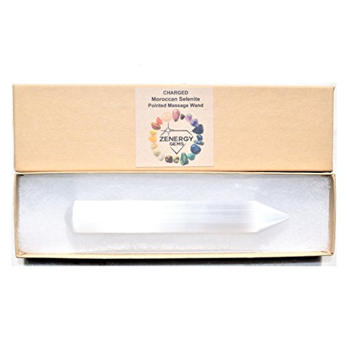 CHARGED Amazing Pure WHITE Pointed Moroccan Selenite Crystal Massage Wand POWERFUL HEALING ENERGY REIKI by ZENERGY GEMS