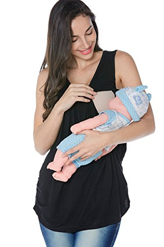 Smallshow Women's Maternity Nursing Tank Top Sleeveless Comfy Breastfeeding Clothes,Black,Medium by Smallshow