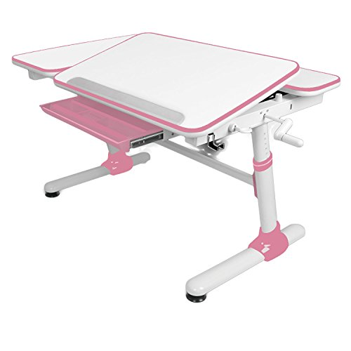 "Cheap Reo-Smart ""Jayden V2 Ergonomic Crank Height and Tilt Adjustable Desk (PINK). Premium Heavy Duty, Sturdy, Modern Interactive Study Work Station for All Ages."