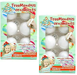 TreeMendous Christmas Tree Ornament Decorating Refill Kit - Includes 12 Blank Ball Ornaments For DIY Craft Activities (White Christmas Black Ornament Tree)