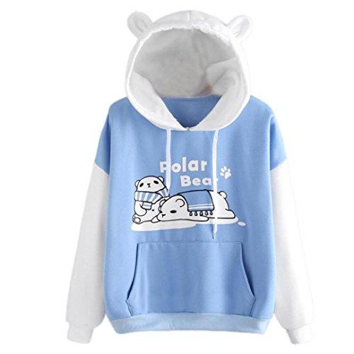 FDelinK Women's Cute Polar Bear Printed Hooded Sweatshirt Cat Ear Hoodie Pocket Pullover Tops (Sky Blue, M) ()