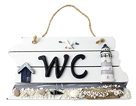 Umiwe Mediterranean Style Personalized Wooden WC Bathroom Door Decorative Sign