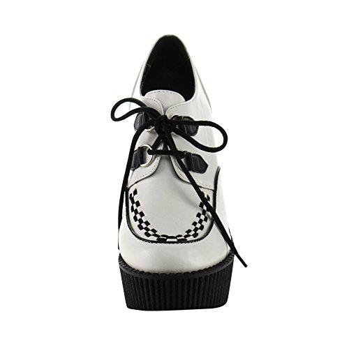 Creeper-302 met geweven detail en sleehak wit/zwart mat - Gothic Glamrock Emo