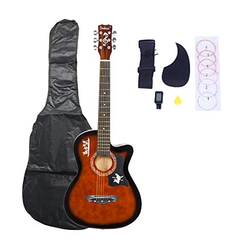 LAGRIMA 38″ Beginner Acoustic Guitar with Guitar Picks String LCD Tuner Pickguard Set and Guitar Bag, Basswood Guitar for Kids Adult, Coffee