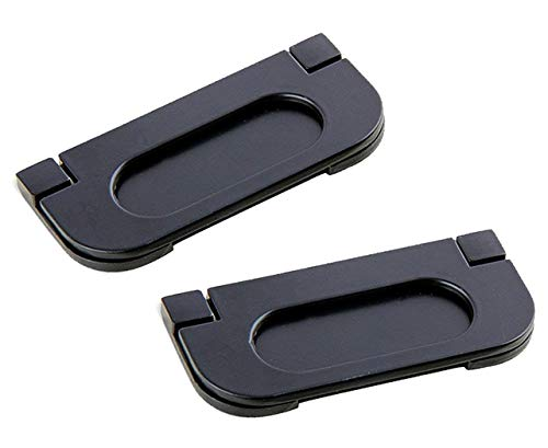 SamIdea 2-Pack Alloy Recessed Type Handle Flush Door Pull for Pocket Doors, Black Rustproof Recessed Finger Pulls for Sliding Doors, Cabinets, Drawers