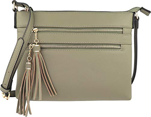 (B BRENTANO Vegan Multi-Zipper Crossbody Handbag Purse with Tassel Accents (Martini Olive))