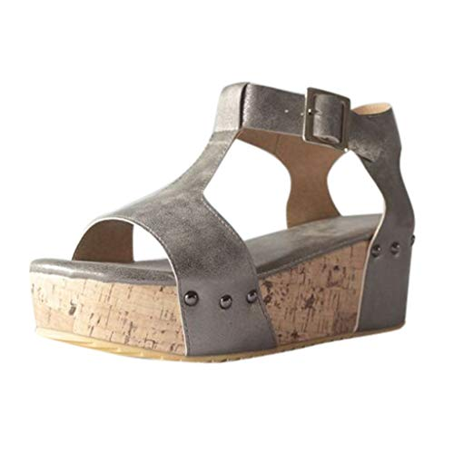 Lefthigh Vintage Ladies Heels Strappy Buckle Studded Platform Slope with Thick Toe Sandals