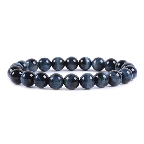 Gemstone Bracelet Eye Cat (Natural A Grade Blue Tiger's Eye Gemstone 8mm Round Beads Stretch Bracelet 7