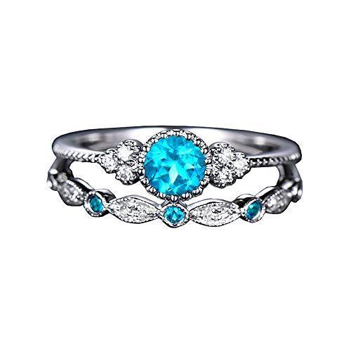 MEZETIHE Women Ladies Fashion Double Layer Rhinestone Ring Luxury Stone Crystal Knuckle Ring Rings (Lake Blue, 8)