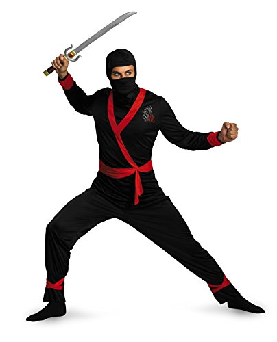 Disguise Men's Ninja Master Costume, Black/Red,