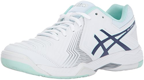 ASICS Women's Gel-Game 6 Tennis-Shoes, White/Indigo Blue/Silver, 11 Medium US (Tennis Woman Shoes Asics)