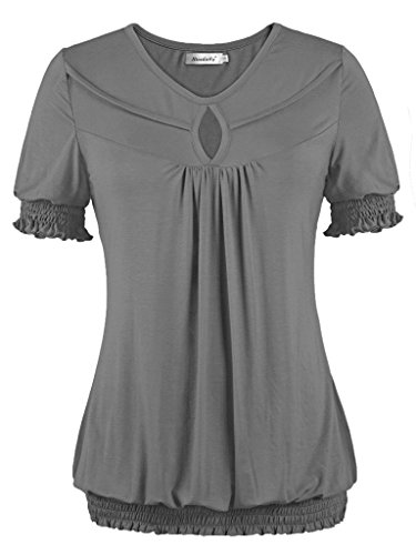 Ladies Striped Drawstring Scrub Pants (Ninedaily Tunic Top Women V-neck Elastic Draped Short Sleeve Blusa Gray)