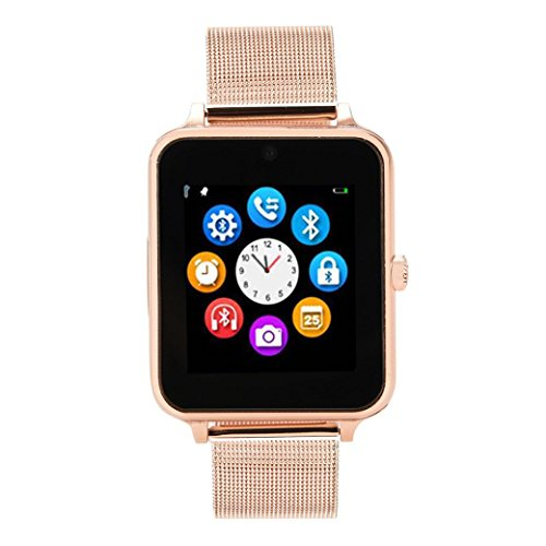 one Call Bluetooth Pedometer Sedentary Remind Sleep Monitor IPS Remote Camera For Android Samsung S7/S8/S9 Plus For iPhone 7 8 Plus X (Rose Gold) ()