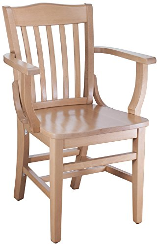 Beechwood Mountain BSD-2A-N Solid Beech Wood Arm Chair in Natural for Kitchen & Dining, (Beechwood Fully Upholstered Chairs)