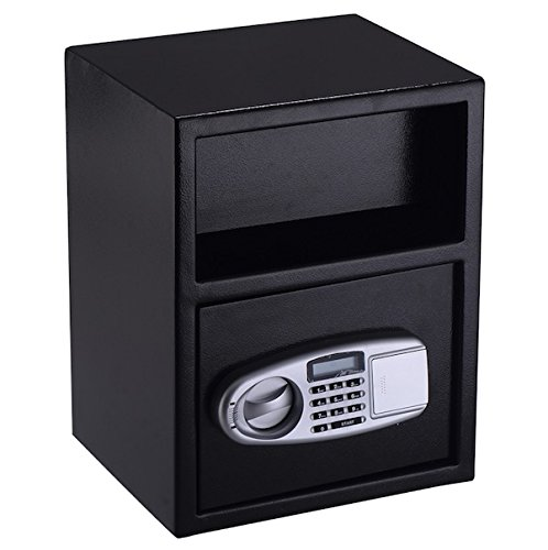 Price comparison product image Digital Safe Box Security Cash Money Jewelry Gun Book Deposit Drawer Depository Drop Slot Load Vault Lock Box Digital PIN Lock And Key Home Hotel Shop Restaurant Office Use Wall Or Cabinet Mount